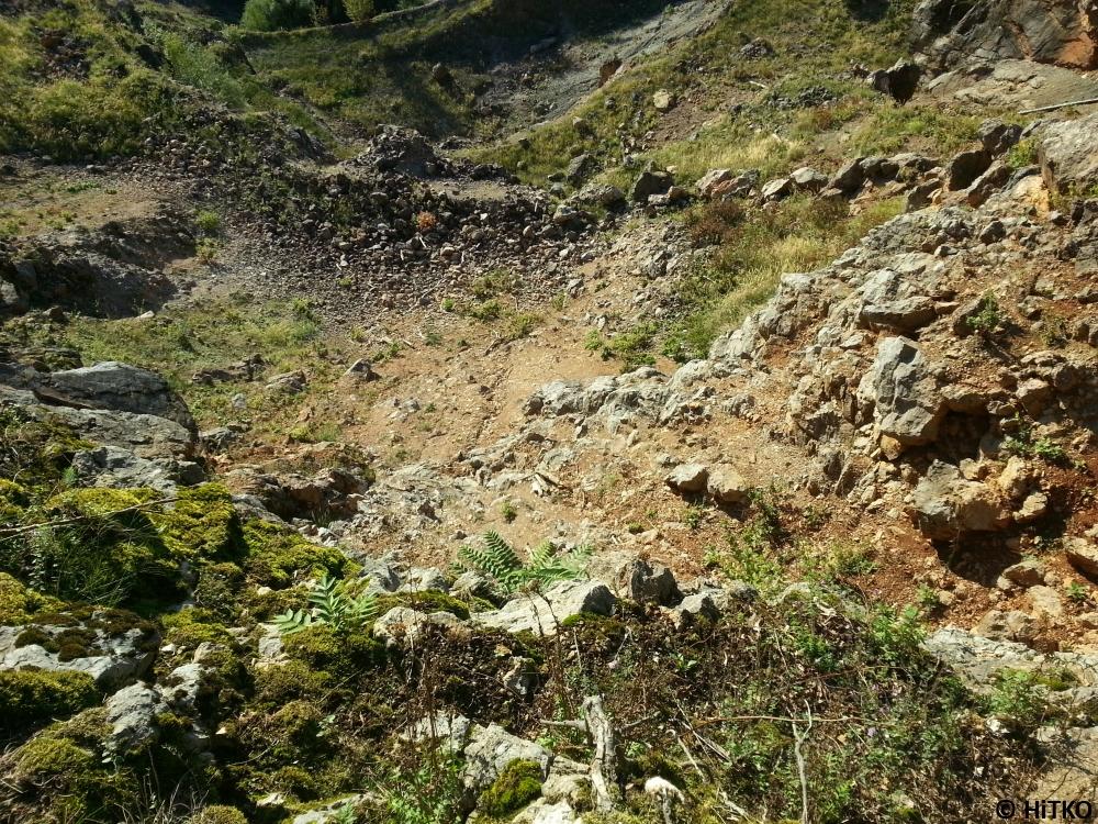 Broken quarry wall