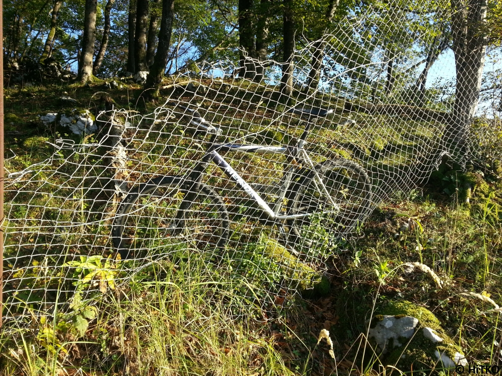My bike, from the other side of the fence