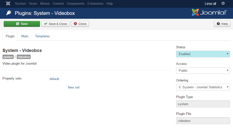3. Enable and save the Videobox plugin